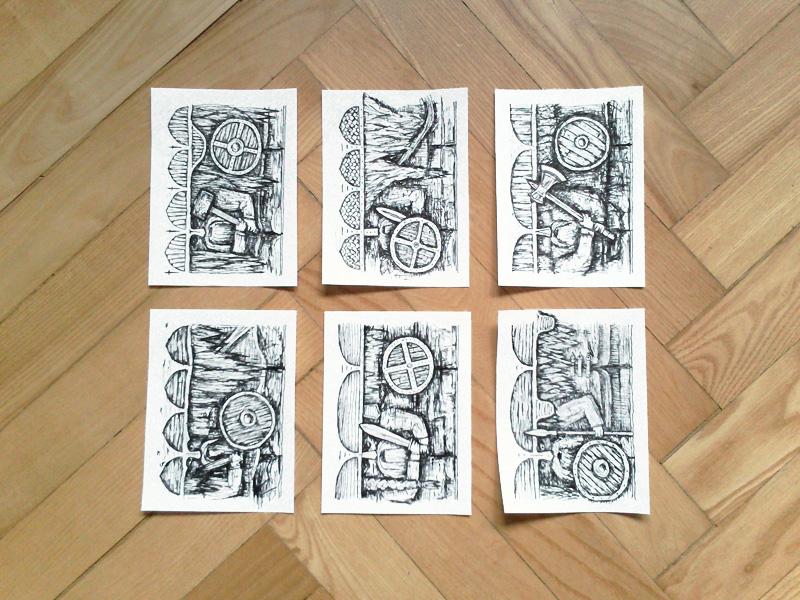 Motivy figurek jsem kreslil fixou napapír. Ponascanování vcopycentru jsem jen upravilkontrast.